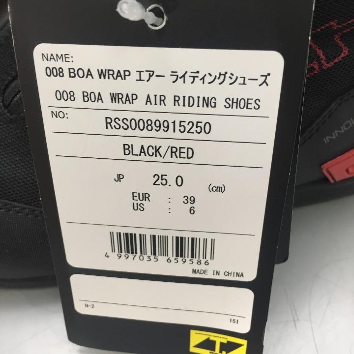 RSタイチ RSS008 BOA WRAPシューズ ブラック/レッド 25.0cm
