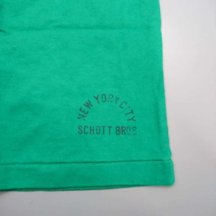 SCHOTT Tシャツ グリーン プリント無し Sサイズ