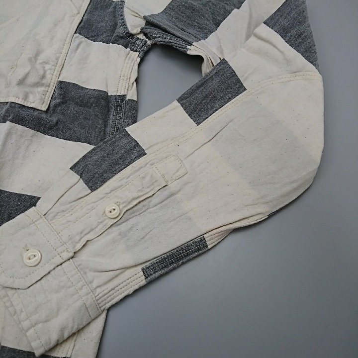 SCHOTT シャツ オフホワイト/グレー Sサイズ