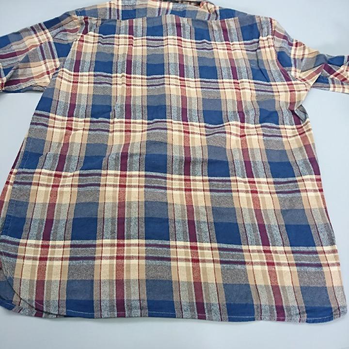 SCHOTT シャツ ベージュ/ブルー XLサイズ
