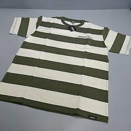 SCHOTT Tシャツ カーキ ストライプ XLサイズ