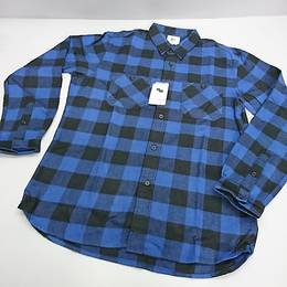 SCHOTT シャツ ブルー/ブラック Mサイズ